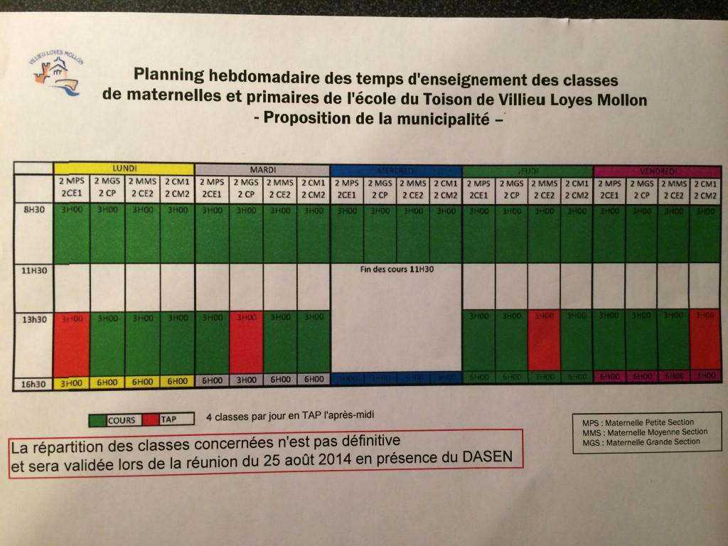 planning rythmes scolaires